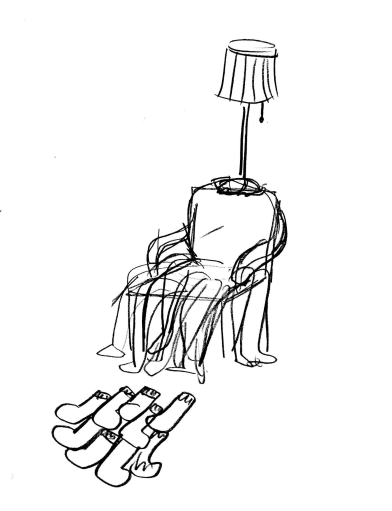 Sketches of possible furniture made from old clothes, including lampshades made from skirts, benches made from clothes folded upon each other, a lounge chair made with stuffed pants, an armchair padded with clothes, carpet from socks, etc.