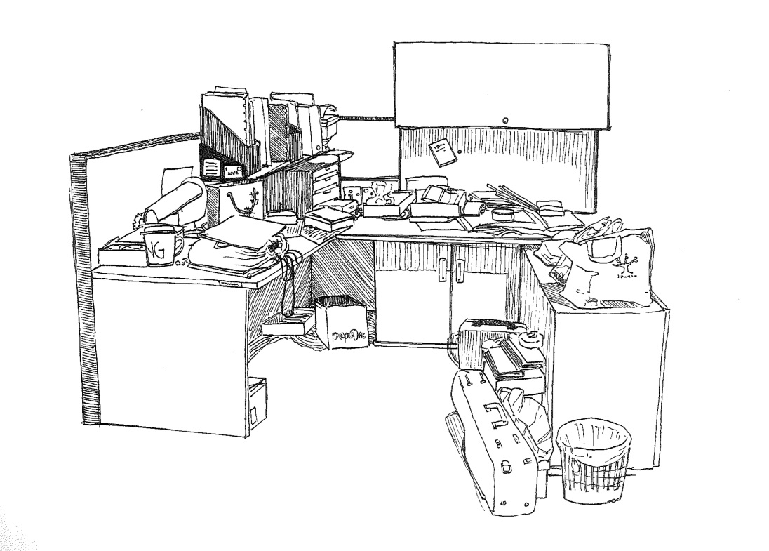 Working spaces pen sketch 1