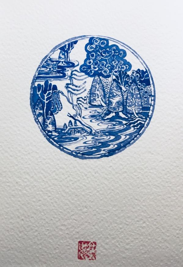Sketch idea blue on white